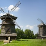 Old wooden windmill in Suzdal